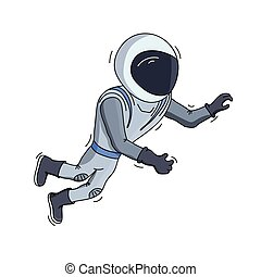 Vector illustration of astronaut floating in space