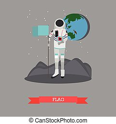 Vector illustration of astronaut with flag in flat style