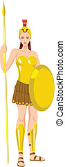 Vector illustration of Athena the goddess of war