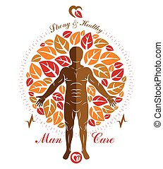 Vector illustration of athletic man created as a continuation of autumn tree. Human and nature harmony metaphor, naturopathy.