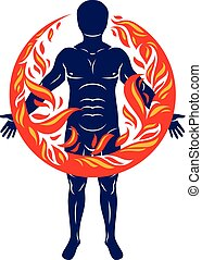 Vector illustration of athletic man, human and nature harmony, fire man covered with a fireball.