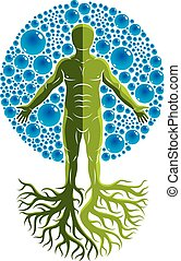 Vector illustration of athletic man made with tree roots and surrounded with water bubbles, element of water. Environment conservation metaphor.