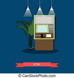 Vector illustration of ATM, flat style design - Vector...