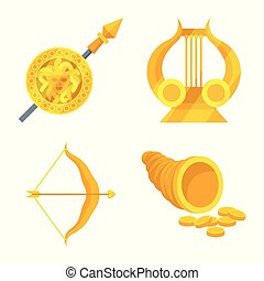 Vector illustration of attributes and greek symbol. Set of attributes and god vector icon for stock.