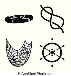 Vector illustration of attributes and vintage icon. Set of attributes and sea stock symbol for web.