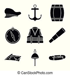 Vector illustration of attributes and vintage logo. Collection of attributes and sea stock symbol for web.