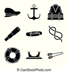 Vector illustration of attributes and vintage symbol. Set of attributes and sea stock symbol for web.