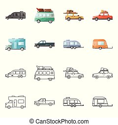 Vector illustration of auto and journey logo. auto and trailering vector icon for stock.