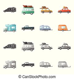 Vector illustration of auto and journey sign. auto and trailering stock vector illustration.