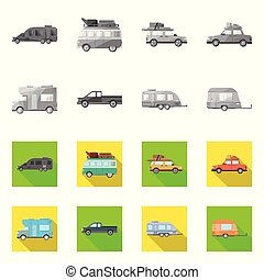 Vector illustration of auto and journey sign. Set of auto and trailering stock vector illustration.