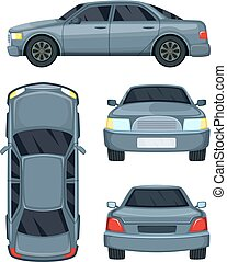 Vector illustration of automobile. Top side, front and back...
