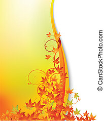 Autumn background - Vector illustration of Autumn background