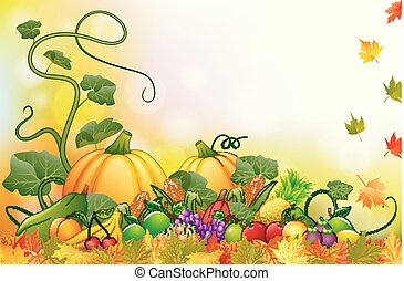Autumn background with fresh fruits and vegetables