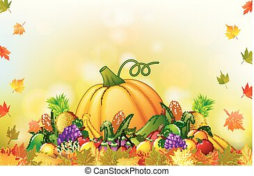 Autumn background with fruit and leaves