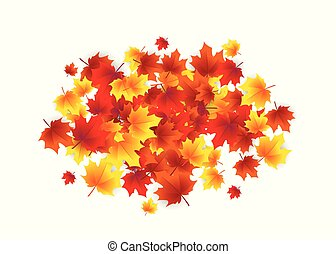 Vector illustration of autumn circle round background with falling leaves maple