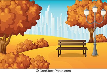 Autumn city park bench with lantern and town buildings