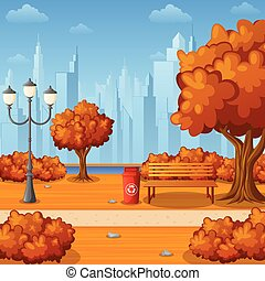Autumn city park with bench and town buildings