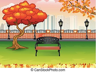 Autumn city park with town building background