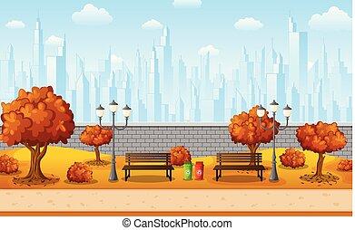 Autumn city park with town buildings