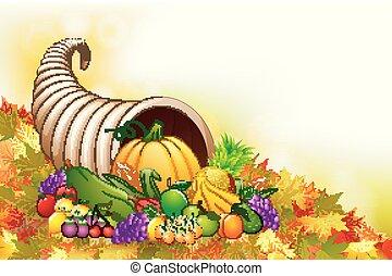 Autumn cornucopia horn of plenty with fruits