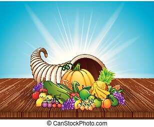 Autumn cornucopia with vegetables and fruits on wooden table
