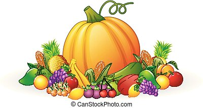 Autumn harvest of vegetables and fruits - Vector ...