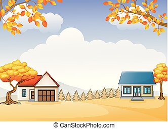 Autumn house and garden with bright foliage trees