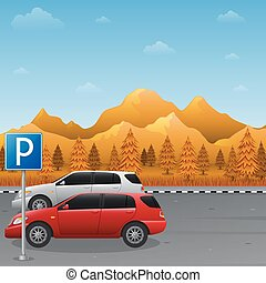 Autumn mountains landscape with parking zone sign and two car