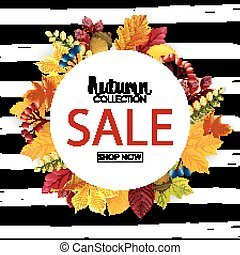 Autumn sale round background with colorful leaves