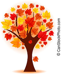 Vector illustration of autumn tree