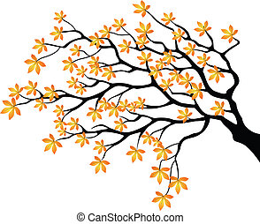 Autumnal branch - Vector illustration of Autumnal branch