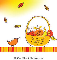 autumnal theme - Vector illustration of autumnal theme with...