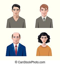 Vector illustration of avatar and face icon. Collection of avatar and profile stock symbol for web.
