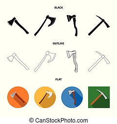 Vector illustration of ax and hammer logo. Collection of ax and chopping stock symbol for web.