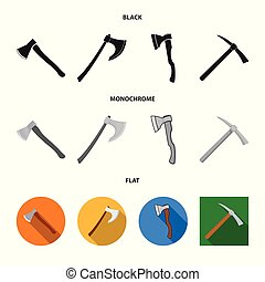 Vector illustration of ax and hammer logo. Set of ax and chopping stock symbol for web.