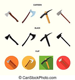 Vector illustration of ax and hammer sign. Collection of ax and chopping stock symbol for web.