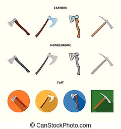 Vector illustration of ax and hammer sign. Set of ax and chopping stock symbol for web.