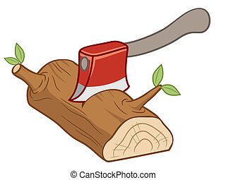 Axe - Vector illustration of Axe set on timber