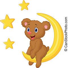 Vector illustration of Baby bear cartoon sitting on the moon