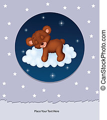 Baby bear sleeping on cloud