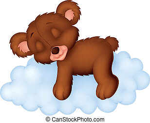 Baby bear sleeping on the cloud
