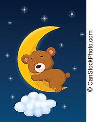 vector illustration of Baby bear sleeping on the moon
