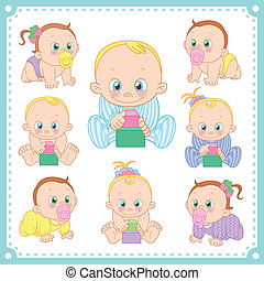 vector illustration of baby boys and baby girls with white...