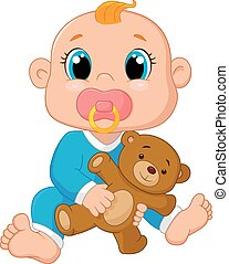 Baby cartoon holding a teddy bear
