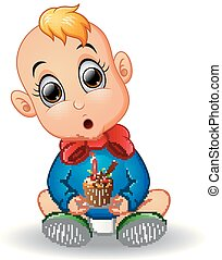 Baby cartoon holding birthday cake