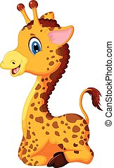 vector illustration of baby giraffe cartoon for you design