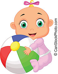 Baby girl cartoon holding colorful