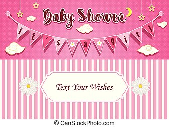 Baby shower greeting card for boy girl birth vector flat vectors baby girl shower invitation card design template m4hsunfo