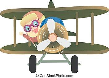 Baby Pilot Riding a Plane