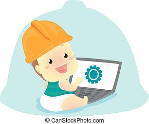 Baby wearing a Engineer Helmet in front of the Laptop